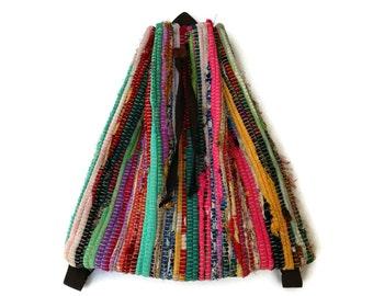 Bright Colors Kilim Fabric Backpack. Kilim Rucksac. Adjustable Straps. School, Laptop, Hipster Backpack