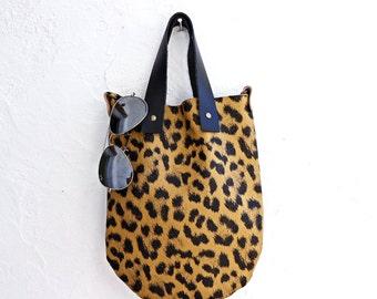 Leather Shoulder Bag in Leopard. Boho Bag. Leather Bag. Women's Bohemian Bag. Boho Messenger Bag. Gift For Her. Designer Bag