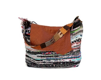 Leather and Kilim Hobo Shoulder Bag with Upcycled Leather Handles. Boho Chic Bag. Women's Gift. Bag from Greece. Gift for Her. Large Bag
