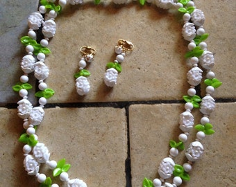 Lime and White Flower Garden Necklace and Earrings