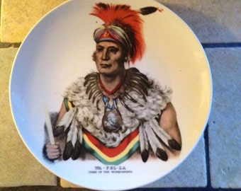 Chief Wapello Native American Indian Plate