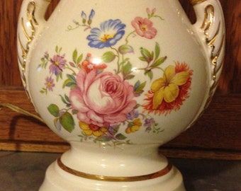 Large Antique Ceramic Table Lamp With Mixed Floral Bouquet