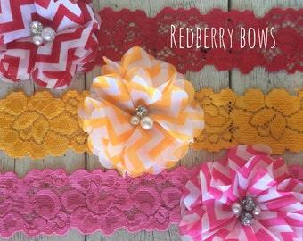 Folded RHINESTONE and PEARL FLOWER Headband…Your Choice of Three Colors
