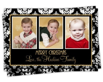 Christmas Photo Card Design, Holiday Photo Card, New Year's Photo Card, custom for YOU - 5x7 or 4x6 size, Black Damask with Gold