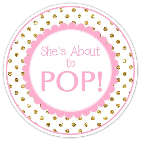 baby shower about to pop labels gold dots and pink about to pop stickers baby shower labels