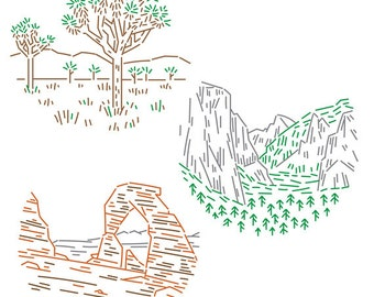National Parks PDF Embroidery Pattern Pack 1