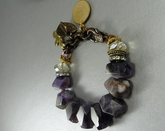 Bold Amethyst Statement Bracelet with gold and copper Rhinesotnes Charms charm unique organic original bold purple modern geometric nuggets