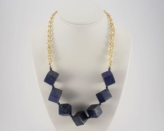 Lapis Lazuli and Gold Chain Statement Necklace