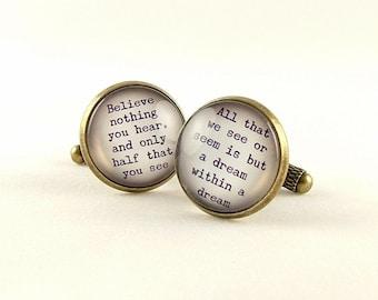 Birthday Gift For Him - Edgar Allan Poe Cufflinks - Dream Within A Dream - Literature Gifts for Husband Boyfriend - Gothic Gift Idea