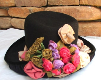 Vintage Black Wool Hat Whittall & Shon Doeskin Felt Millinery Roses