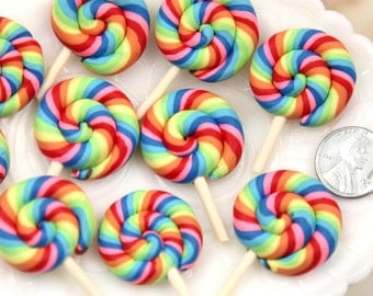 Candy Cabochons - 45mm Super Bright Rainbow Swirl Fimo Lollipop Flatback Polymer Clay or Resin Cabochons - 5 pc set