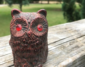 Vintage Owl Figurine--Intense Red Eyes--Copper on Black--Made in Hong Kong--Spooky Eerie Halloween Decor--Kitschy Mid Century Decor