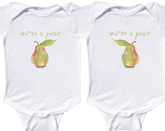 We're a Pear Baby Twins Rompers Funny Twin Bodysuits Boy Girl Twin One Pieces