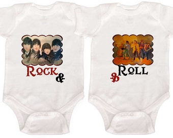 Rock and Roll Bodysuits Baby Twin Rompers Twin Creepers by Mumsy Goose  Identical Twins Boy Girl Twins