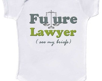 Future Lawyer Baby Bodysuits infant rompers and Toddler shirts by Mumsy Goose Newborn Layettes to Toddler Tshirts