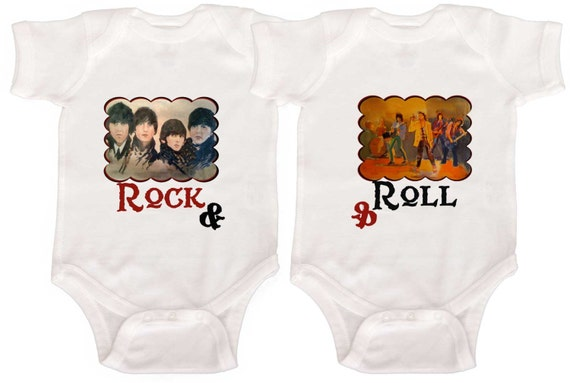 Rock and Roll Rompers Baby Twin Rompers Twin Creepers by Mumsy Goose  Identical Twins Boy Girl Twins