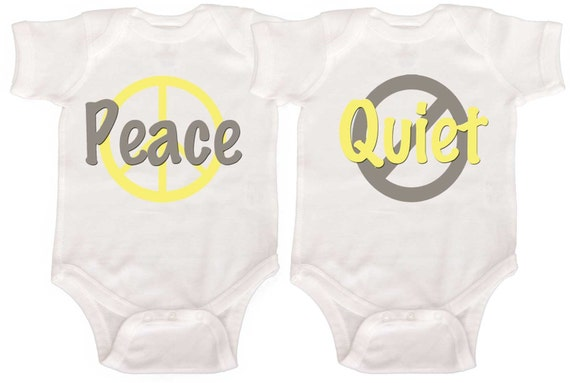 Funny Twin Rompers  Boy Girl Twin bodysuits Baby Boy Twins Girl Twins Newborn Creepers to Toddler Tees
