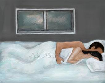 """Couple Painting Couple Art Print Couples LOVE Wall Art Snuggling Couples Painting Print  Romantic Sleeping Napping """"Just Relaxing With You"""""""