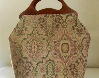 Bamika Champagne Chenille Large Craft Project Tote/ Knitting Tote Bag - READY TO SHIP