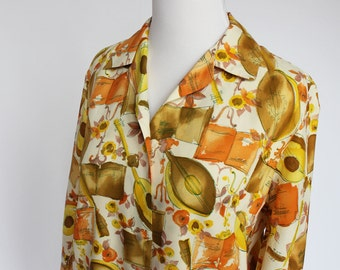 70's Retro Print Blouse / Polyester Blouse / Button Front /  Small to Medium