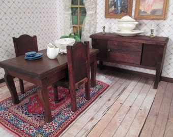"""German Dining Room Furniture for Doll House - Red Stain - 3/4"""" Scale"""