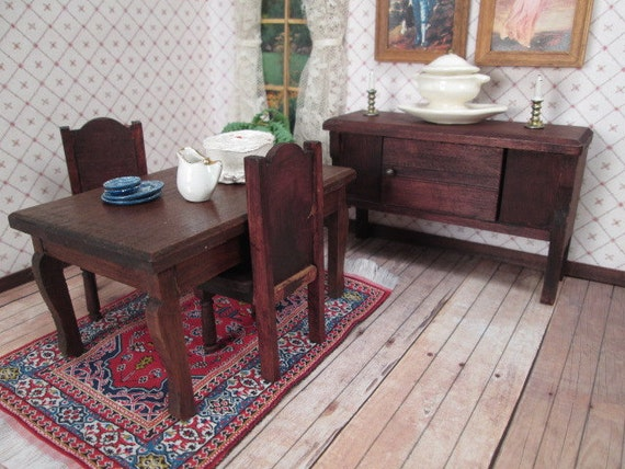 German dining room furniture for doll house red stain for Dining room in german