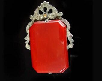Vintage Art Deco FUR CLIP sterling carnelian beautiful metal work Brooch Estate jewelry Talisman pendant