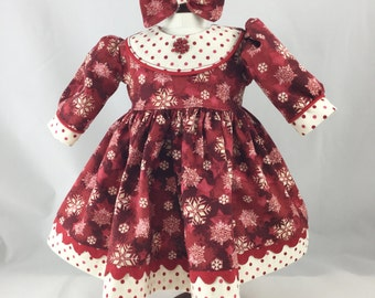 "Fits American Girl 18"" Dolls Dress Long Sleeved Christmas Deep Red and Burgundy Cream Snowflakes Polka Dots Matching Hair Bow"