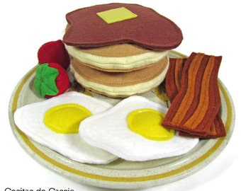 Pancake, Eggs, and Bacon Breakfast Felt Play Food Set