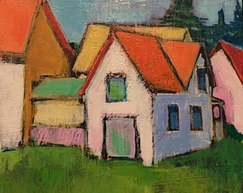 """The Painter's House - Original Acrylic Oil Encaustic Landscape - 10"""" x 10"""""""