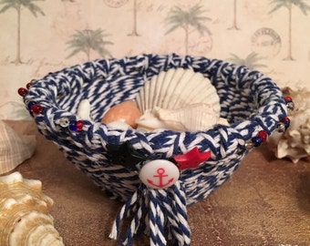 Small Nautical Blue and White Basket