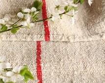 B 155 antique grain sack cushy and chunky BRIGHT RED  43.31 long tablerunner cushion french lin