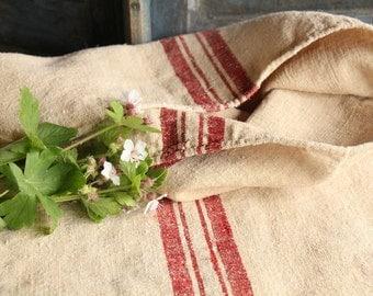 B 184: grain sack,  antique linen, FRENCH RED;  pillow benchcushion;  wedding decoration; christmas, thanksgiving; gift bag