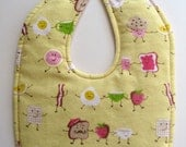 Ready To Ship - Dancing Breakfast Foods Flannel Baby Bib - Yellow Pink Flannel Baby Girl Bib - Breakfast Foods Toddler Bib