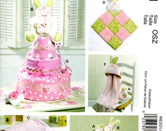 McCall's Crafts 6301 Sewing Pattern - Bunny Theme Baby Items - Diaper Cake - Hooded Baby Towel - Baby Blanket - Burp Cloth