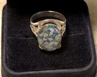 Sterling Silver Ring - Mosaic Under Glass - 925 Silver - Size 8