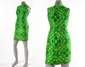 Vintage Silk Cheongsam Dress, 1960s Mini Dress, Chinese Suzie Wong Green Silk Dress, Women's Clothing, Dresses