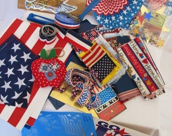Destash Red White Blue Sewing Scrapbook Craft Fabric Flag Fan Eagle Stencil Trims Ribbon Stickers Crafts Patriotic USA American History