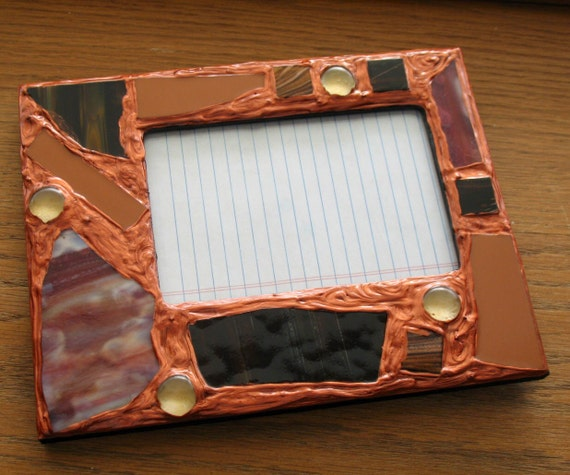 sale red rust recycled stained glass picture frame by anndsart