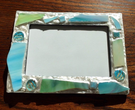 blue skies recycled stained glass picture frame holds a 4 x 6