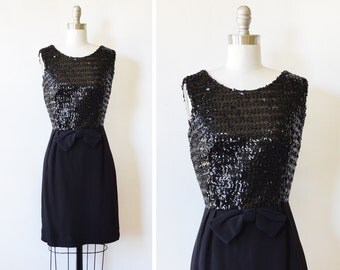 60s black sequin dress, vintage 50s sequin dress, small black cocktail dress with bow