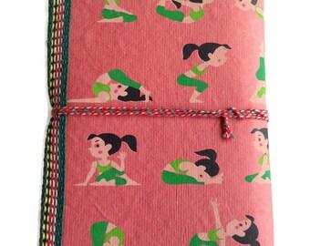Yoga Journal, Deep Peach Journal, Cute Journal, Peach Brown, Yoga Pose Design, Yoga Diary, Zen Notebook, Pocket Book, Recycled Paper Diary