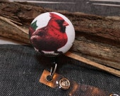 Whimsical badge button holder Cardinals