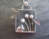 RESERVED. Bunny in the Pearl Garden Silver Pendant