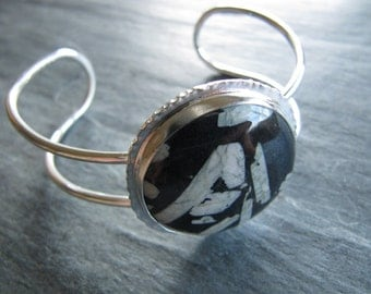 Cuff Bracelet of Chinese Writing Stone in Sterling Silver