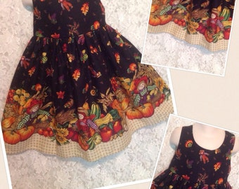 CUSTOM SIZES * Fall Harvest * scarecrow dress jumper for child size 2 3 4 5 6  - sewnbyrachel