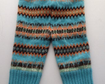 Diaper Cover Wool Longies - Teal and Orange Patterned Recycled Wool Longies