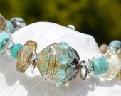 Reserve for Virginia-the DUNES-Handmade Lampwork and Sterling Silver Bracelet