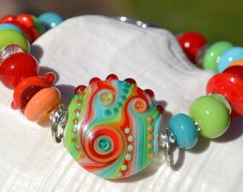 LAUGH OUT LOUD-Handmade Lampwork and Sterling Silver Bracelet