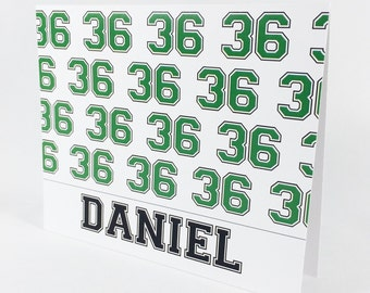 Personalized Thank You Notes for Boys, Teens and Athletes Customized with Name and Jersey Number by Lime Green Rhinestones